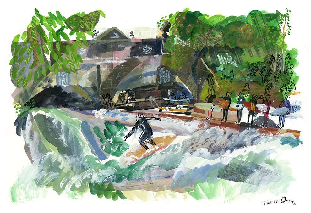 James Oses, Watercolour and collage illustration of a surfing spot on a river. Blackline drawing of people
