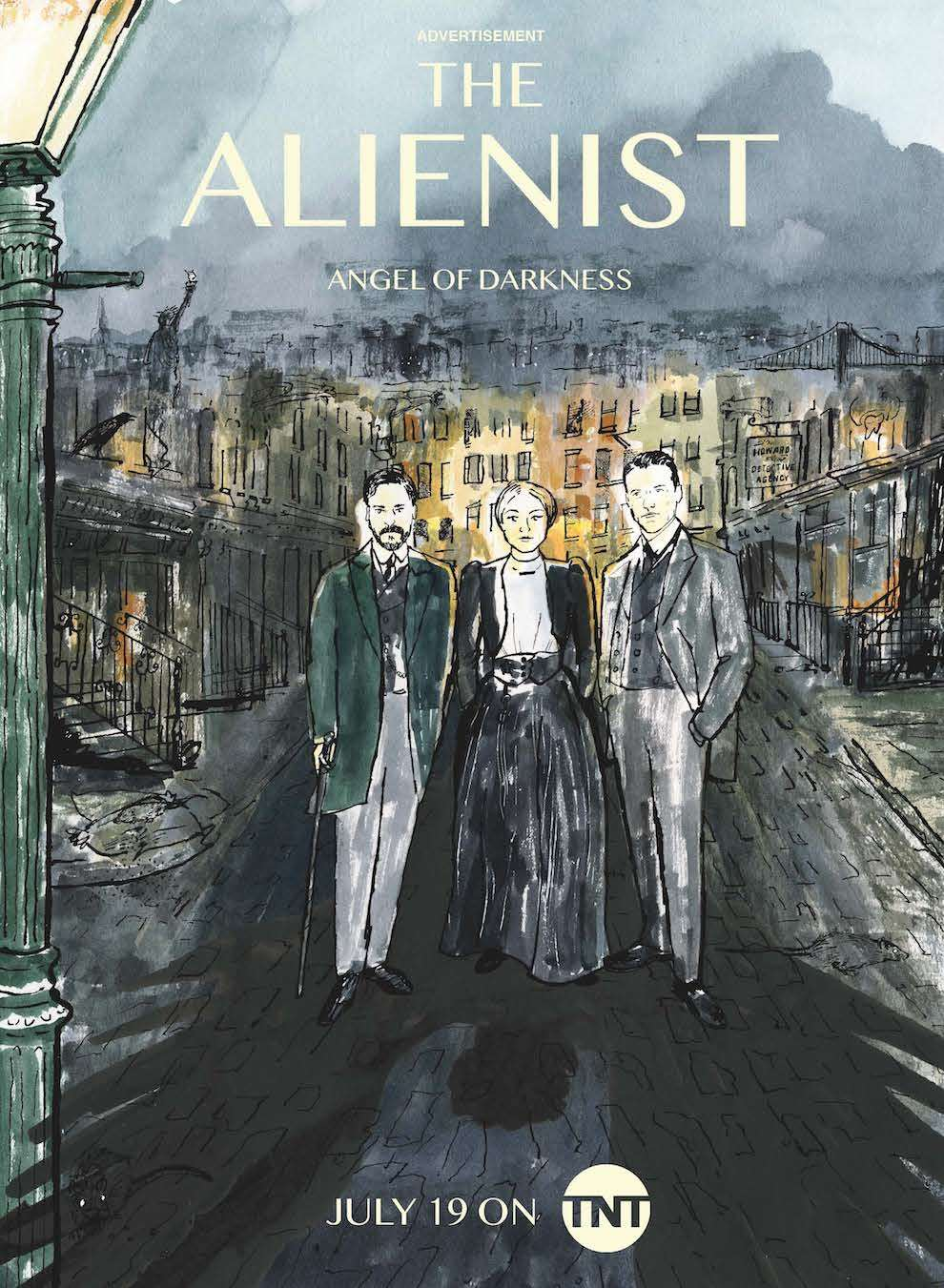 James Oses, Watercolour loose illustration of a poster for the alienist tv show