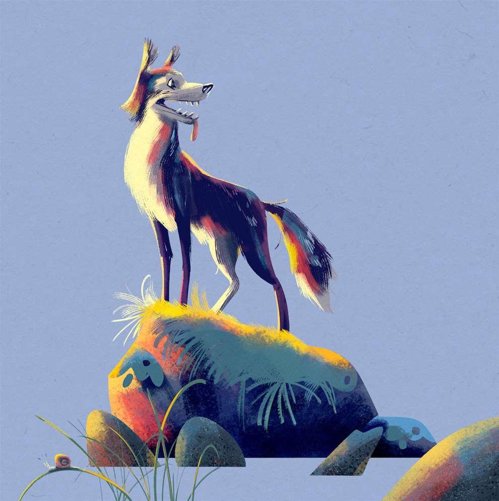 Jan Bielecki, Detailed digital textural illustration of a wolf standing on a rock.