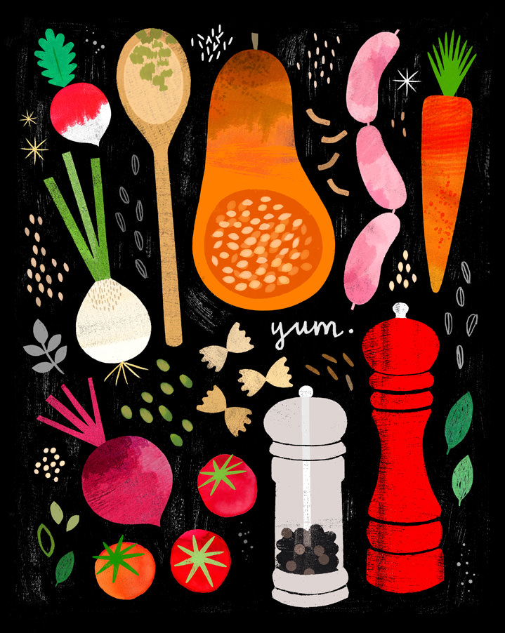 Jessie Ford, Textural spot illustrations of food elements in a black background