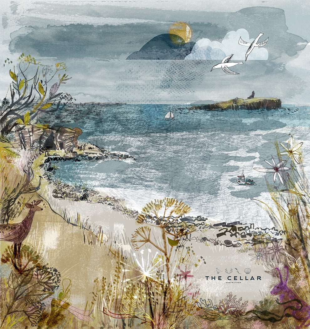 Jill Calder, Mix media illustration using pen and ink. Seaside scenery for the cellar restaurant