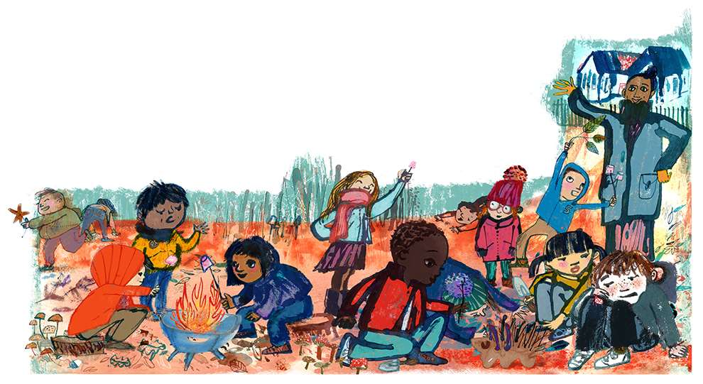 Jill Calder, Textural hand drawn illustration of kids playing