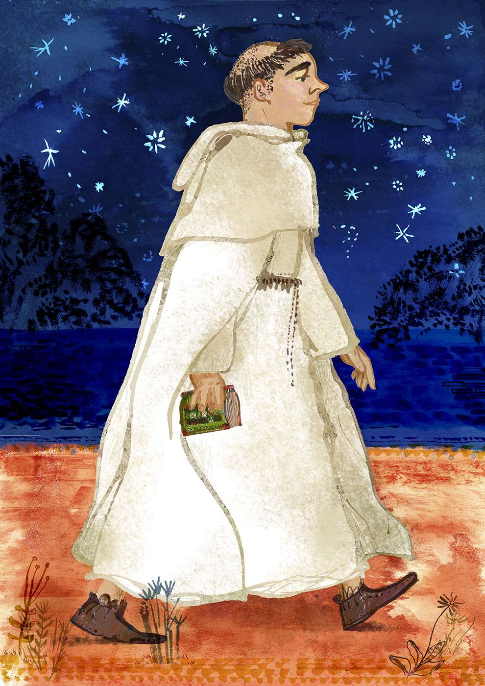 Jill Calder, Textural handrawn illustration of a monk