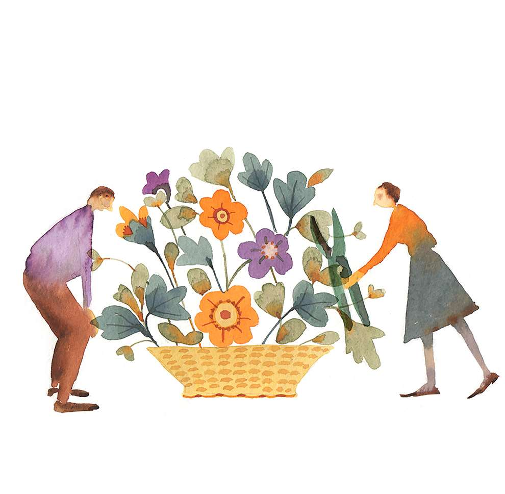 Lesley Buckingham, Watercolour illustration of a couple around a flower bouquet
