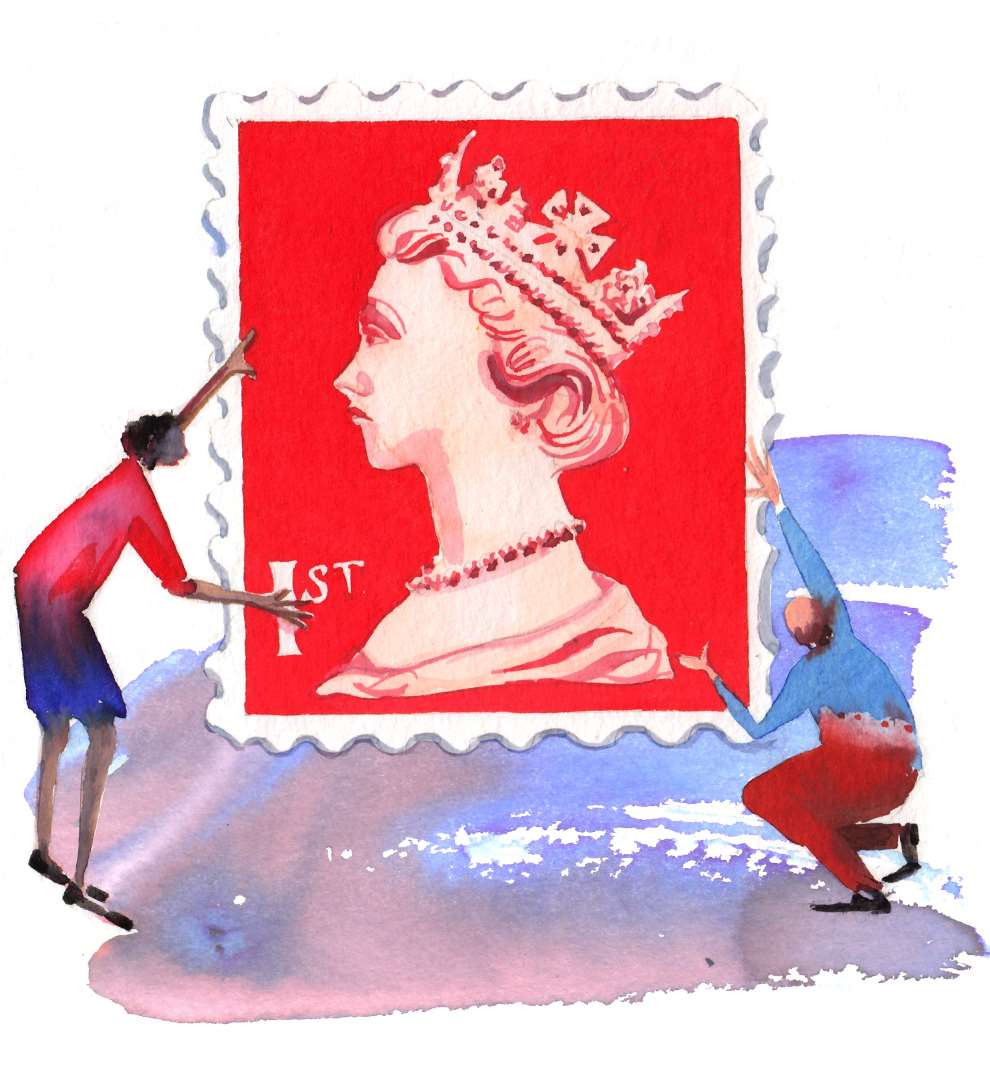 Lesley Buckingham, Watercolour handpainted illustration of two people holding a stamp