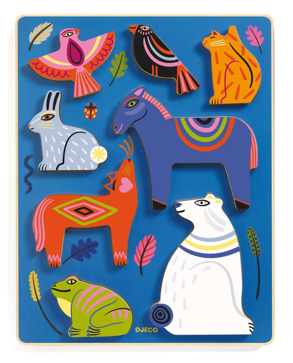 Margaux Carpentier, Margaux's distinctive work is inspired by encounters with colourful earthly, and imaginative creatures and folk tales from around the world. Wooden Toys for Deco Toys.