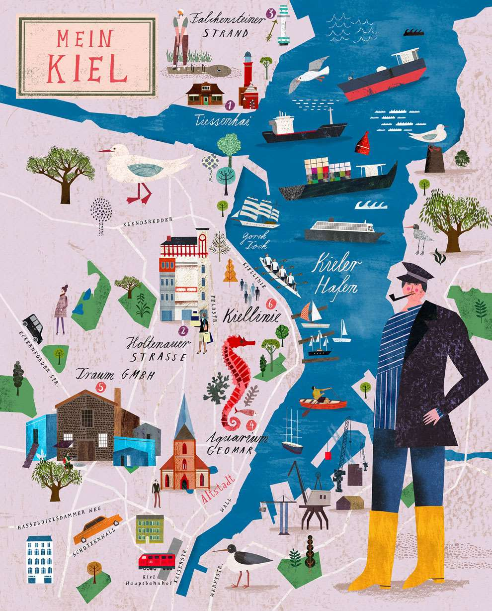 Martin Haake, Mix media layered map illustration of Main Kiehl, playful characters and detailed collaged landmarks.