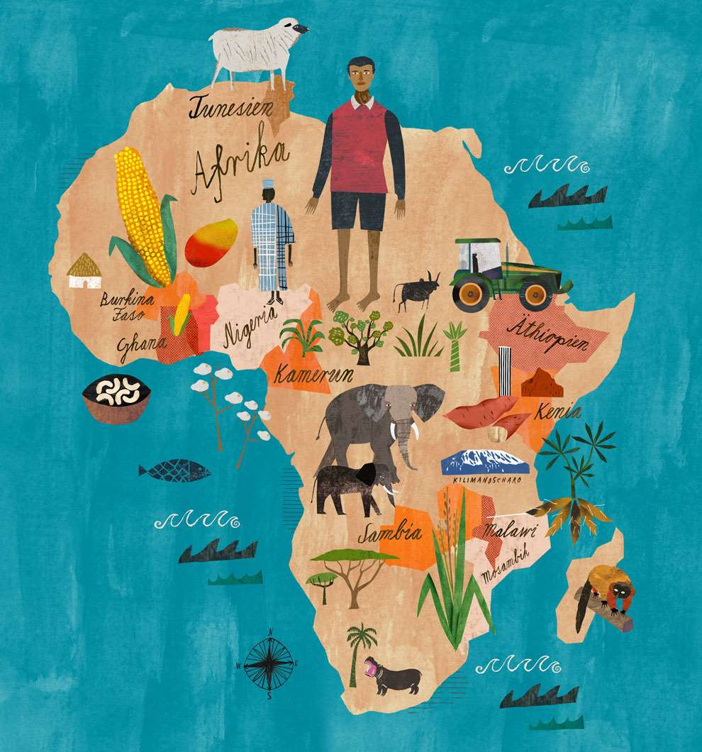 Martin Haake, Mix media layered map illustration of Africa, collaged.