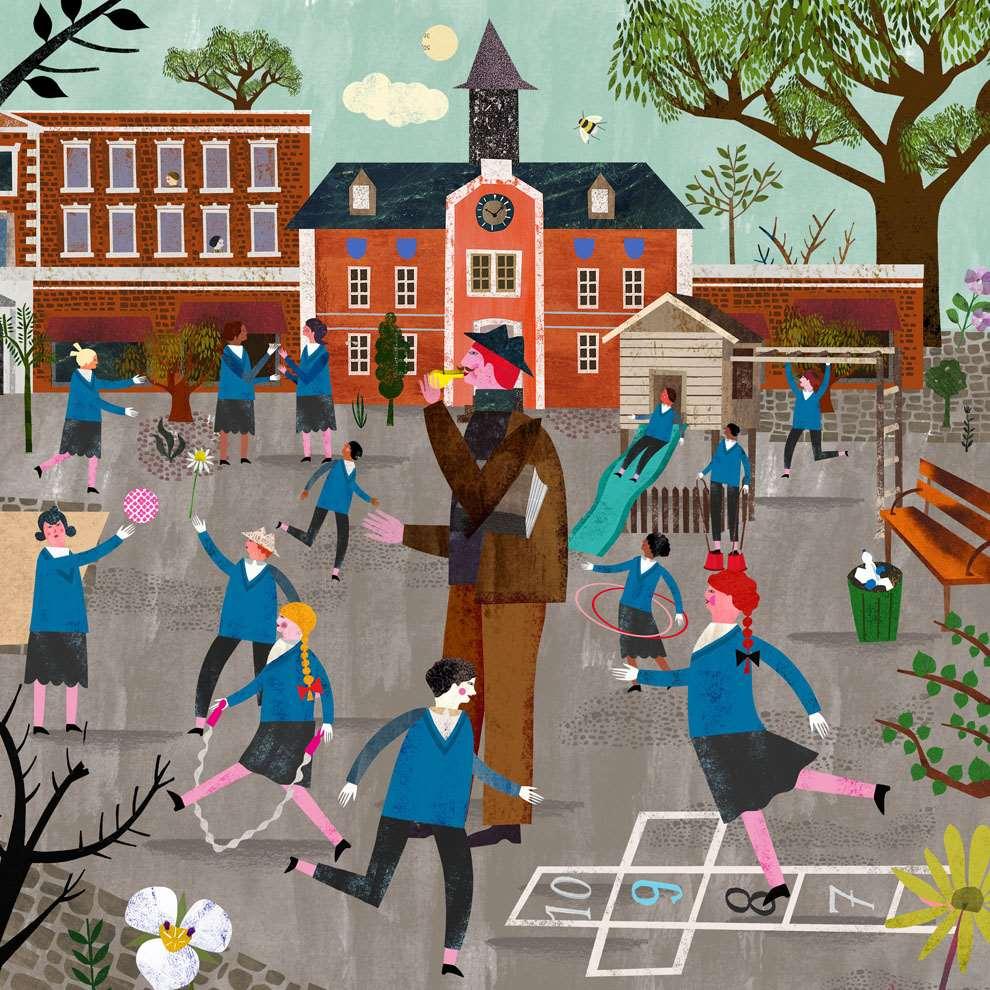 Martin Haake, Collaged playful illustration of a school playground with schoolchildren and teachers.
