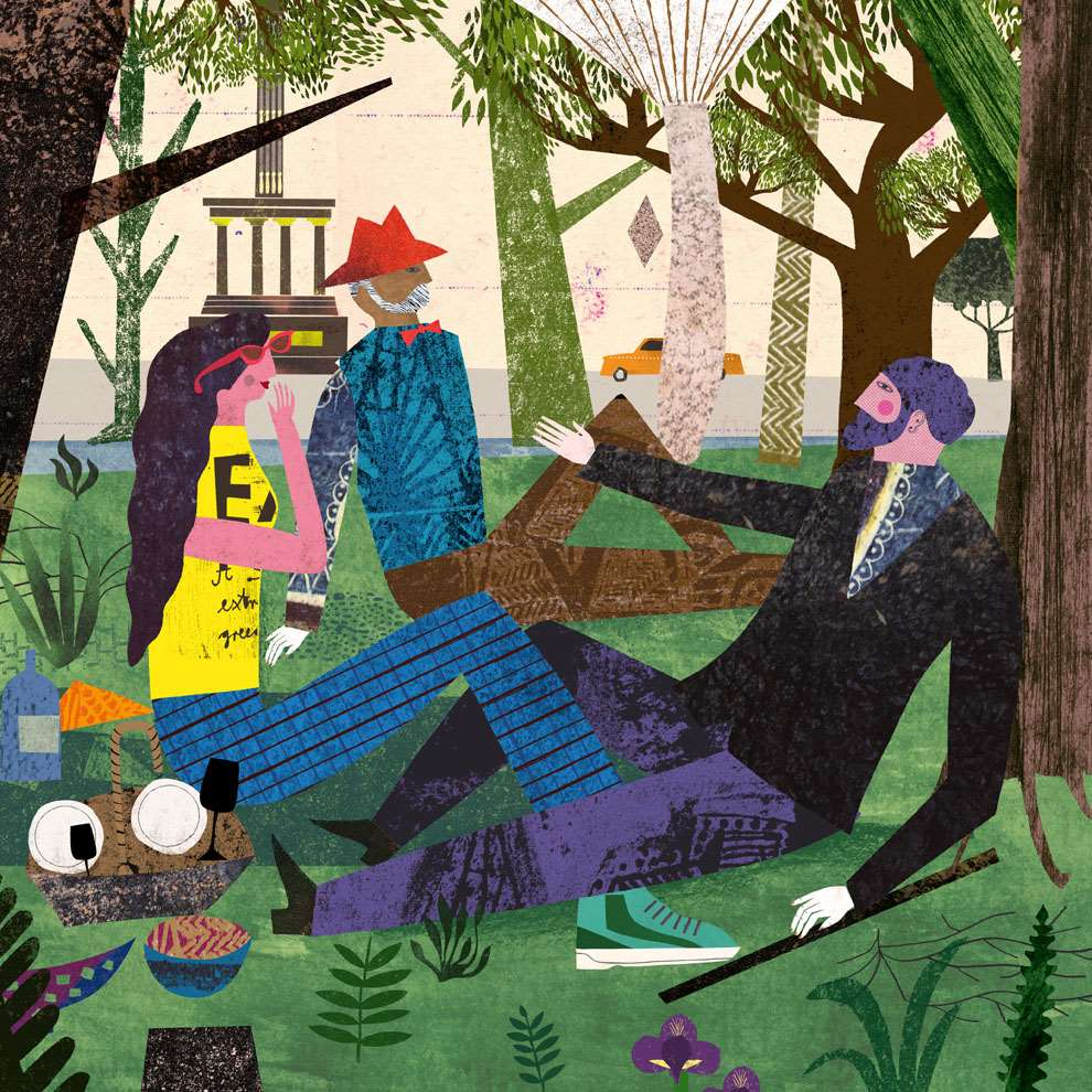 Martin Haake, Collaged playful illustration of 3 characters in a park, having a picnic.