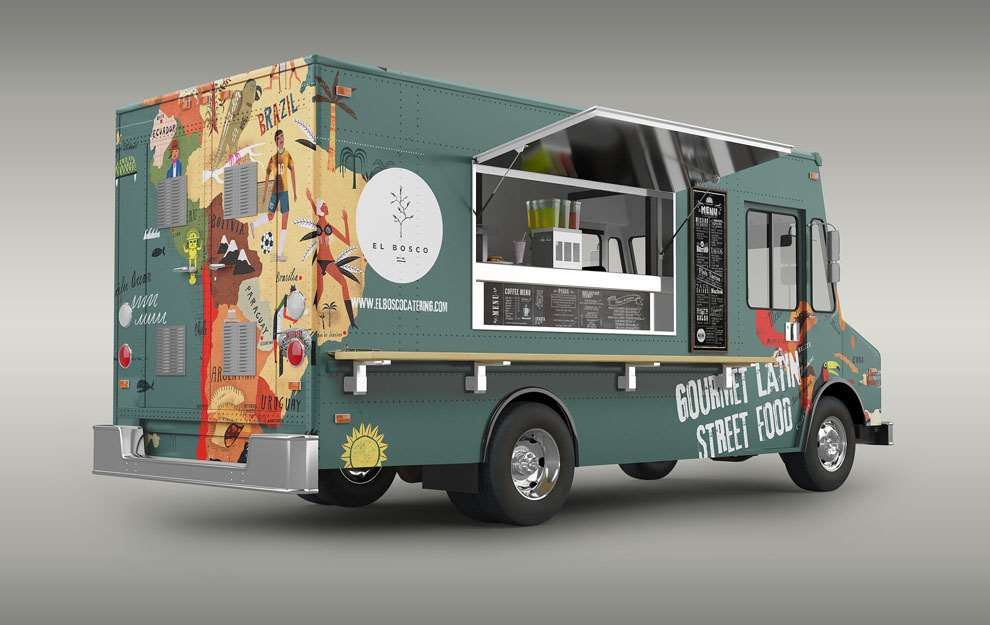 Martin Haake, Quirky folk illustrated map on food van serving gourmet Latin street food.