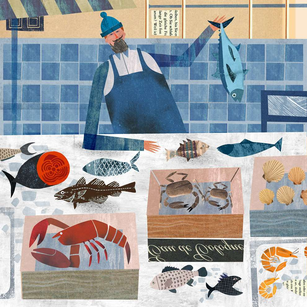 Martin Haake, Mix media layered illustration of a happy fishmonger using collage.