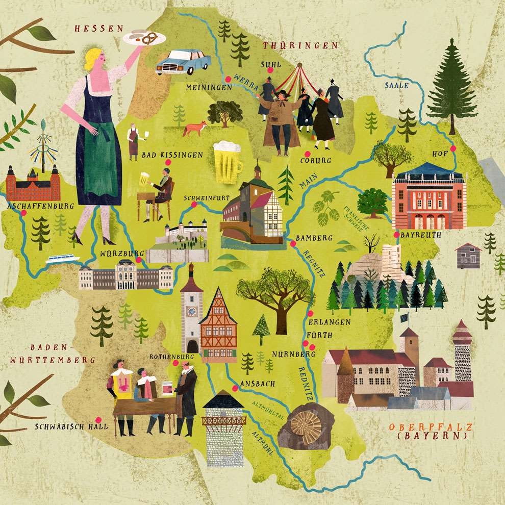 Martin Haake, Detailed folky map collaged illustration of Bayern with spot illustrations of traditions and landmarks.