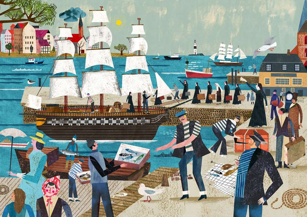 Martin Haake, Mix media layered illustration of boats at the harbour using collage.