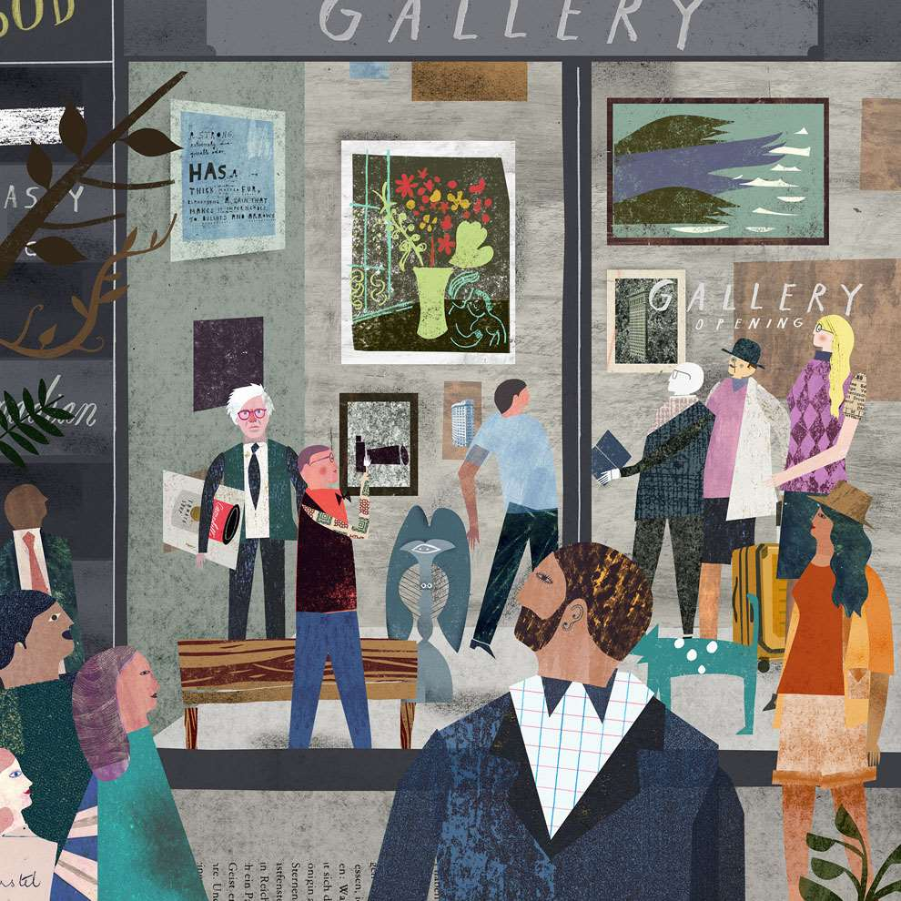 Martin Haake, Gallery opening collaged playful illustration of an art gallery opening.