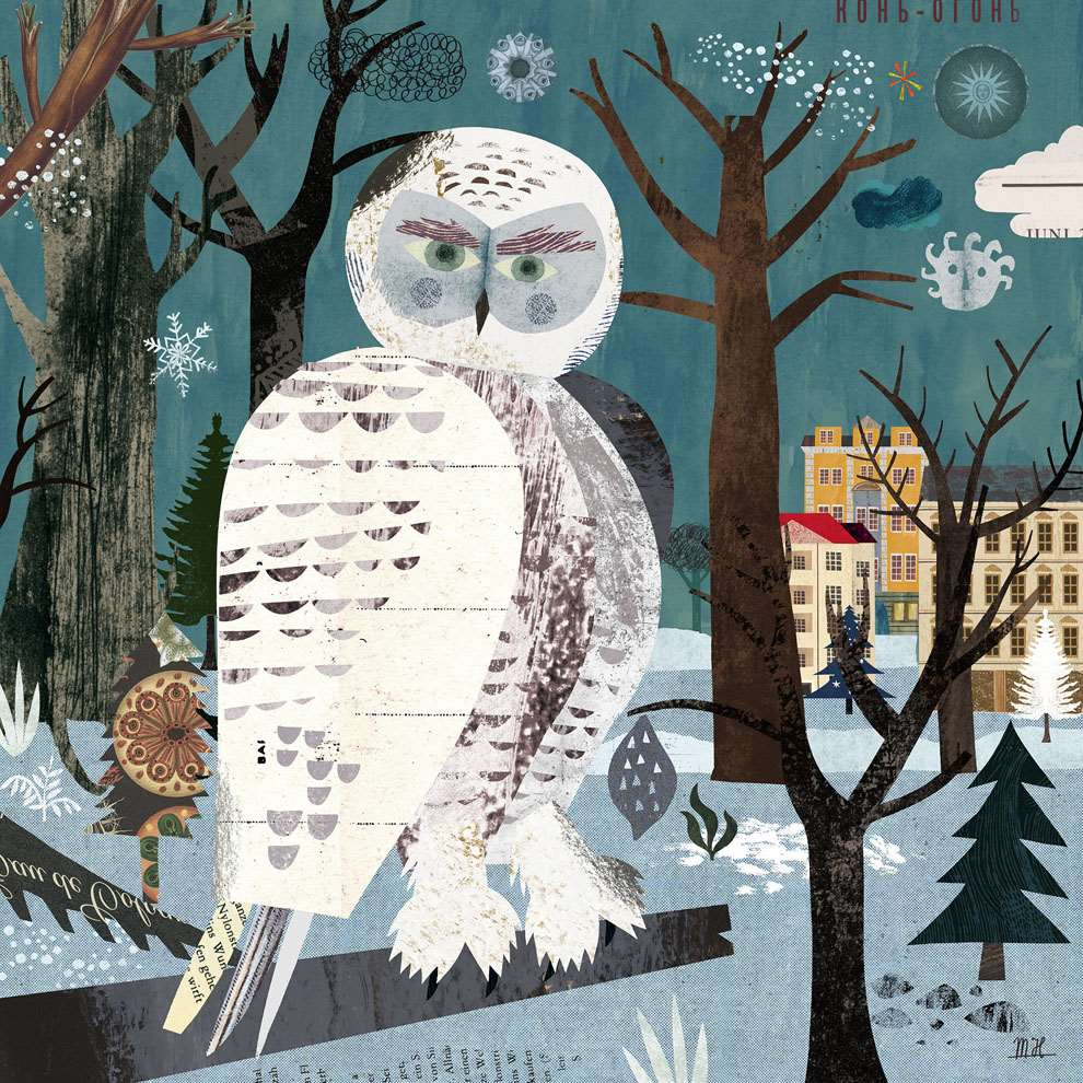 Martin Haake, Collaged winter illustration of an snowy owl in a tree.