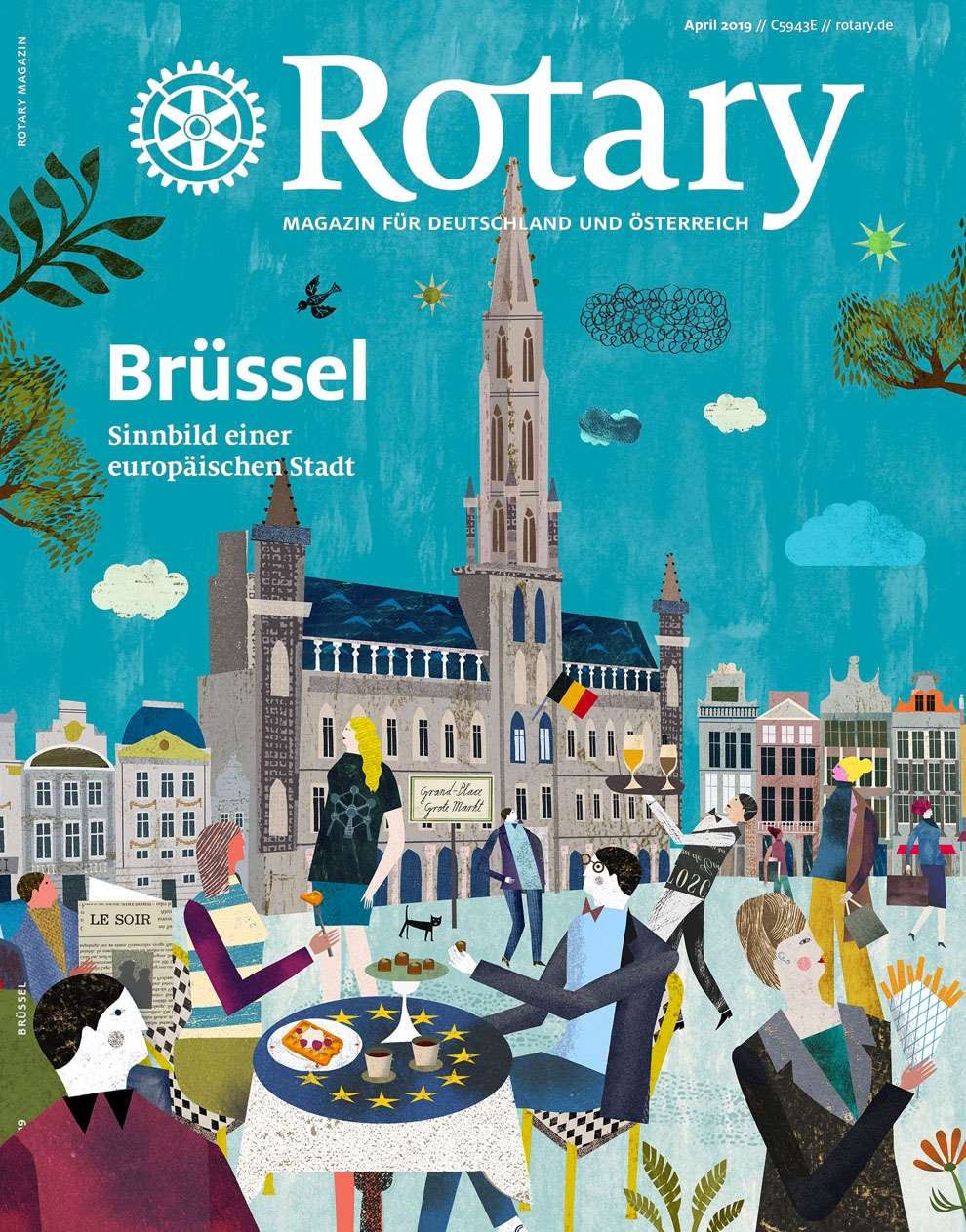 Martin Haake, Editorial cover for Rotary. Mix media layered illustration using collage of crowds dining and eating in Europe.