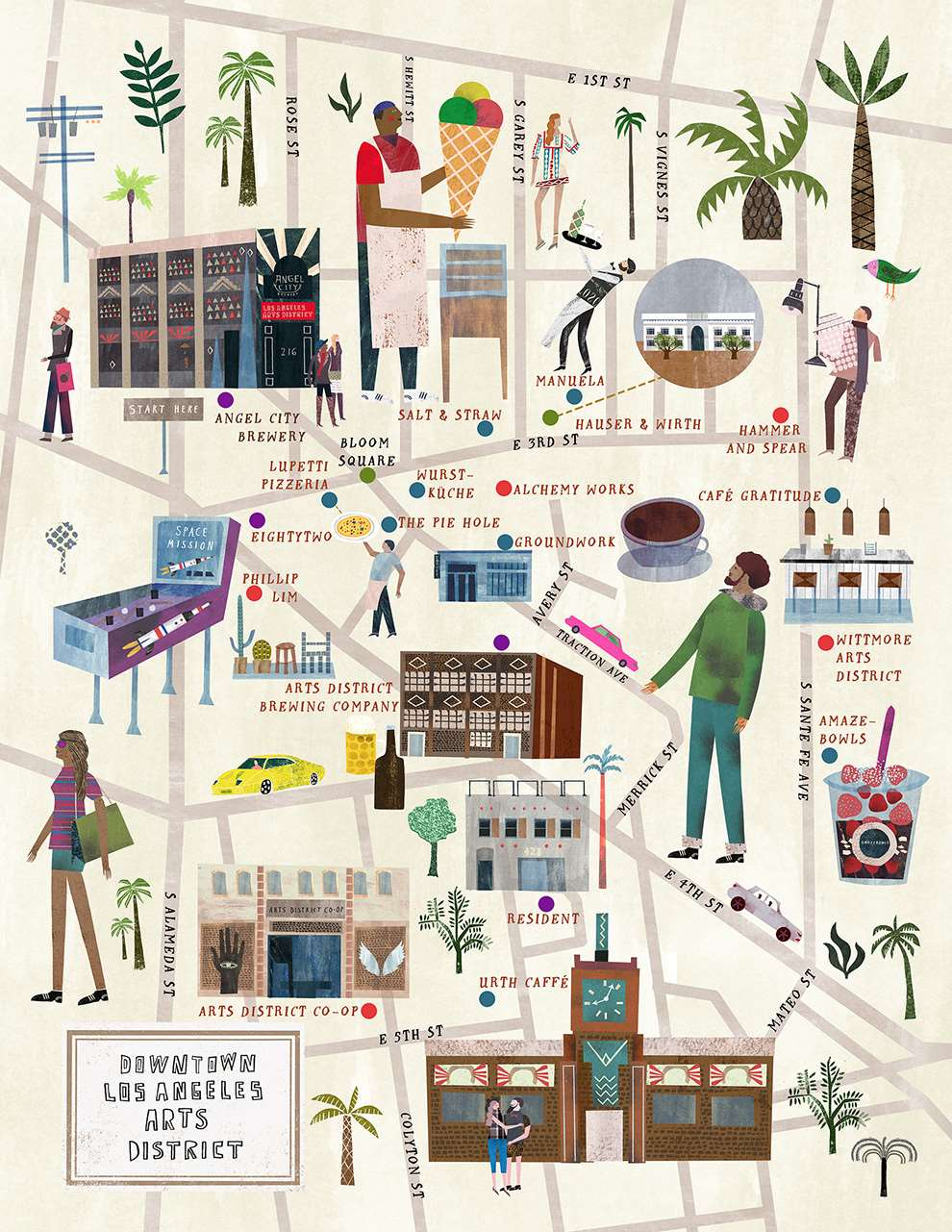 Martin Haake, Mix media layered map illustration of downtown Los Angeles Art District.