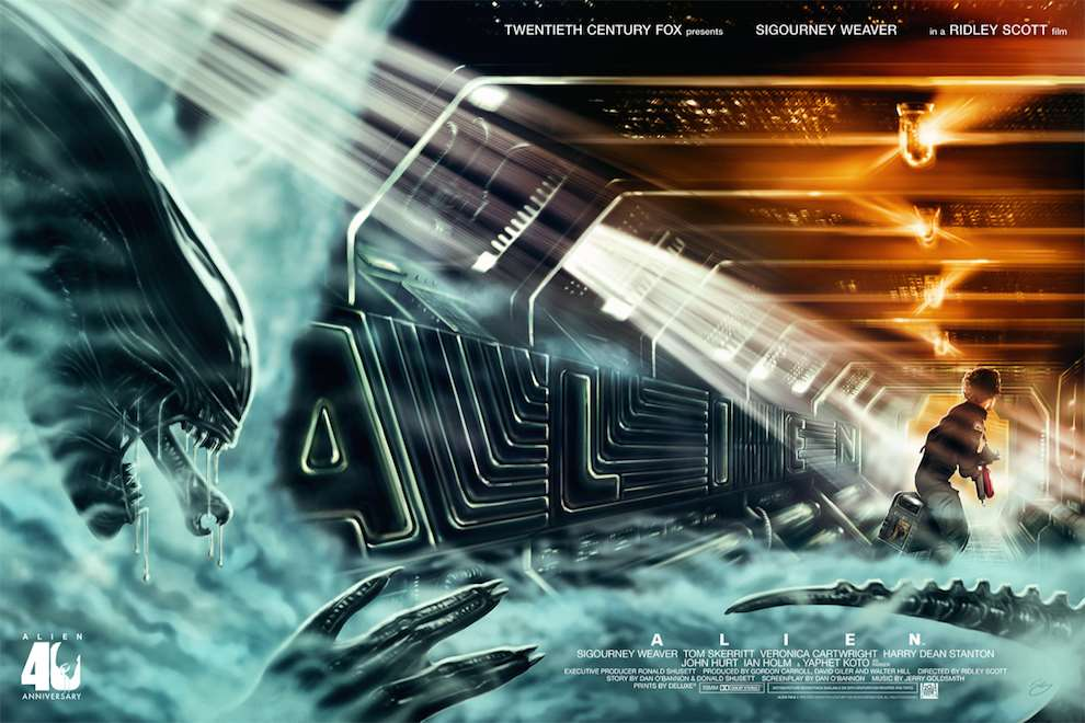 Sam  Gilbey, Digital painterly illustration of the movie 'Alien'.