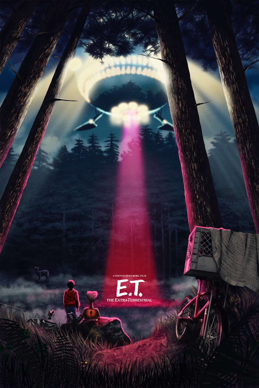 Sam  Gilbey, Digital painterly illustrated poster of the movie 'ET'.