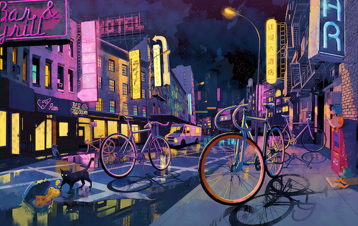 Shan Jiang, Shan Jiang bikes in a night time street scene. Hand drawn digital illustration. Hyper-realism style.