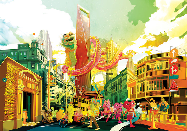 Shan Jiang, Shan Jiang Chinese street scene. Traditional and modern digital illustration with a dragon and cityscape
