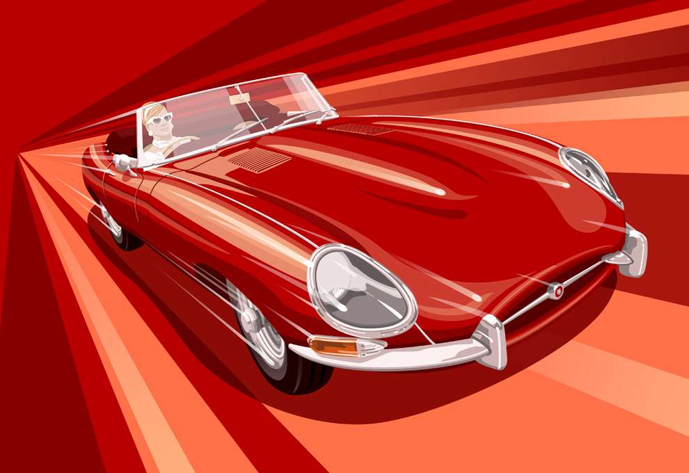 Stephen  Millership, Digital illustration of a woman driving a racing red car. Red background in a retro style.