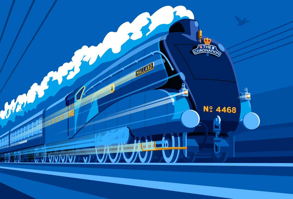 Stephen  Millership, Bold vectorise illustration of a blue train on blue background