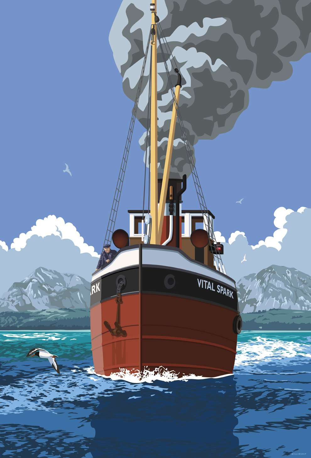 Stephen  Millership, Vector illustration in a travel poster retro style. Fishing boat sailing in the sea.