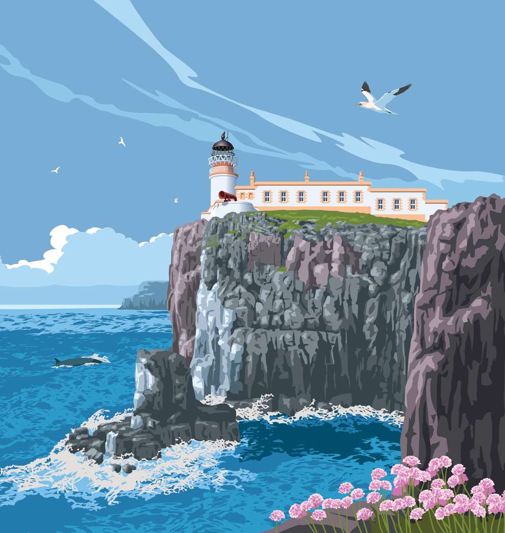 Stephen  Millership, Vintage poster art, bright and bold digital illustration of a lighthouse in a cliff facing the sea