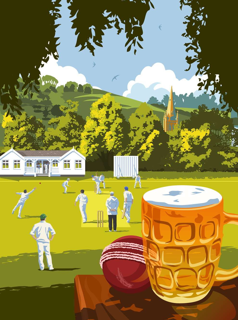 Stephen  Millership, bright and bold digital illustration of  a cricket field with a beer close up in the foreground