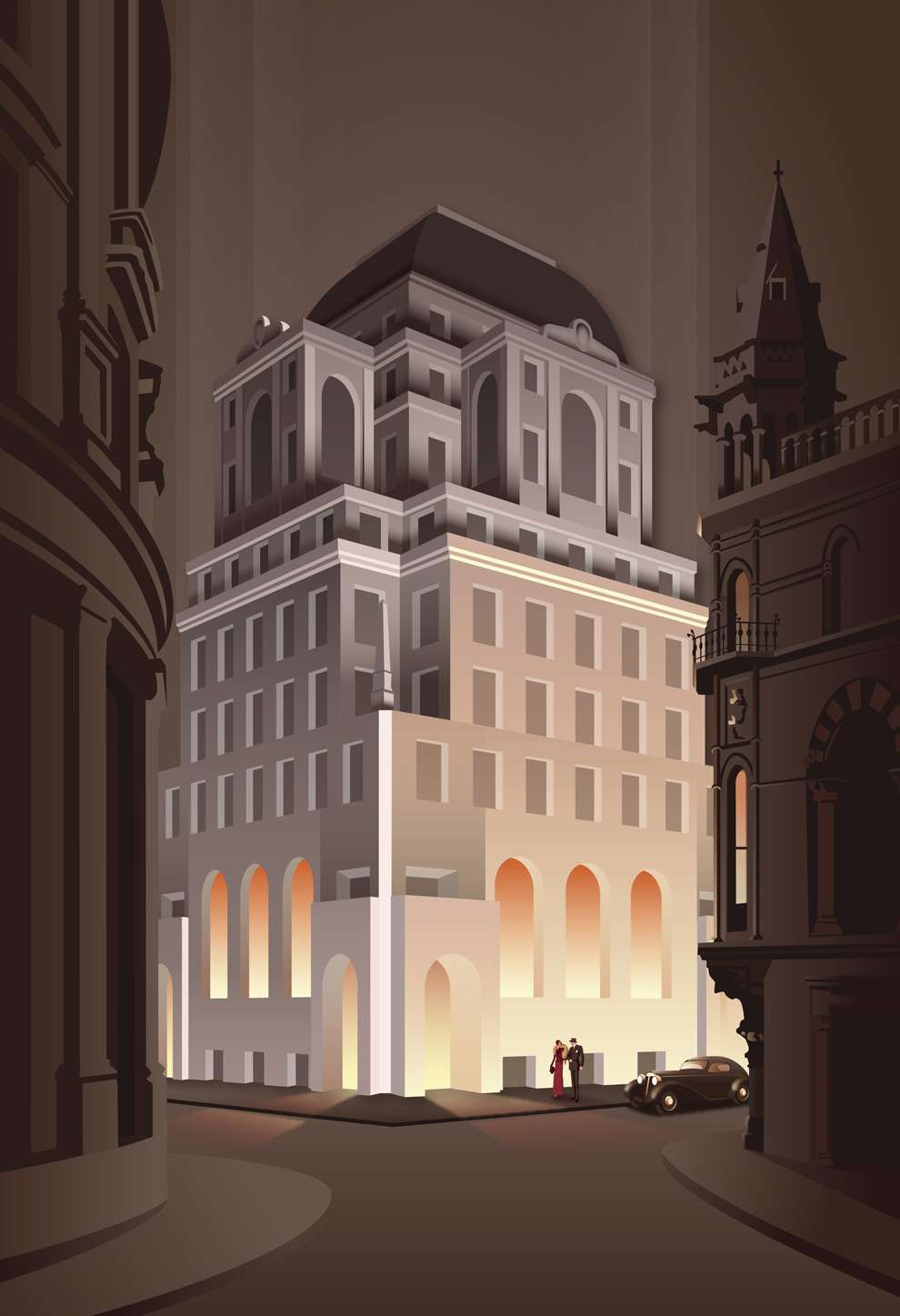 Stephen  Millership, Cityscape illustration. Bold architectural element in the background lighted up