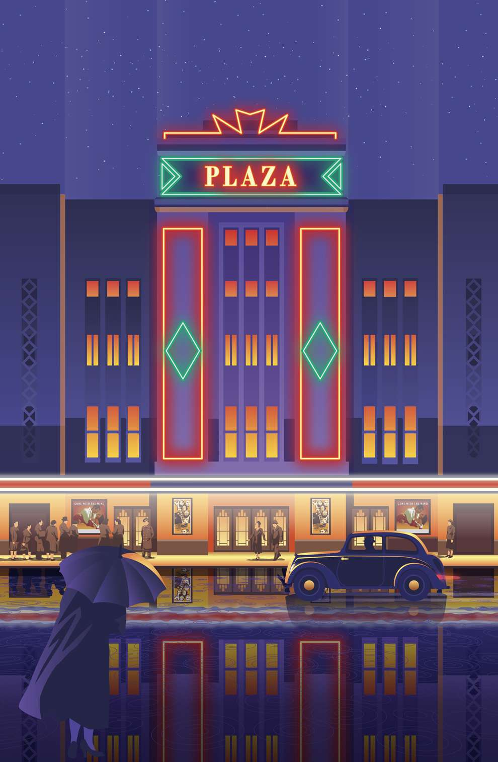 Stephen  Millership, Digital illustration of a theatre facade with people queueing at the front. Bold shapes and colours