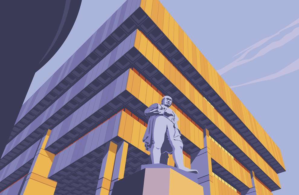 Stephen  Millership, Brutalist architecture with a statue standing in the front.  Vector illustration