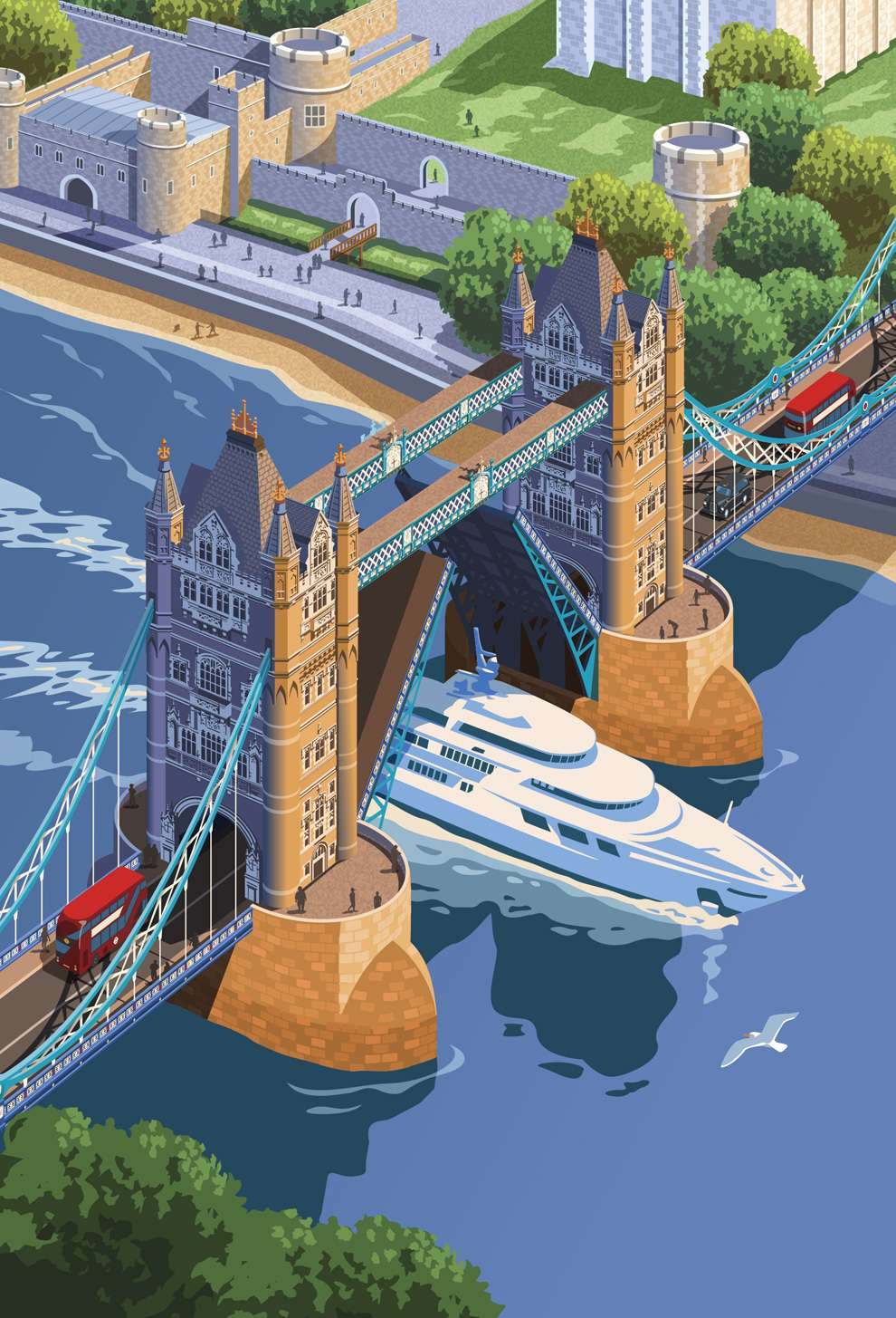 Stephen  Millership, Digital illustration of London Bridge