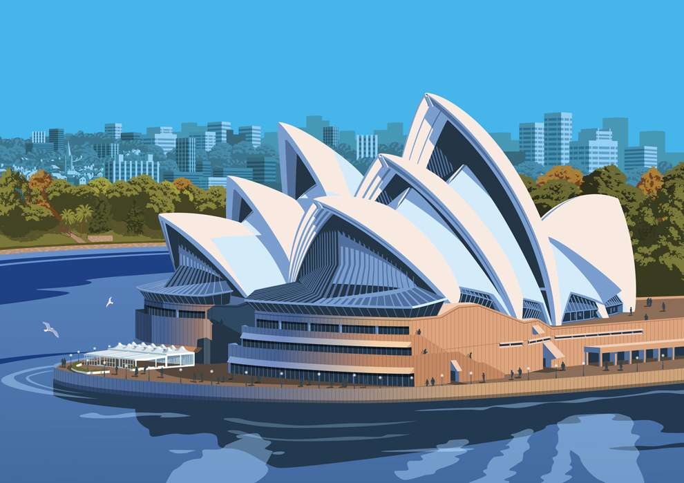 Stephen  Millership, Vector illustration of Sidney Opera