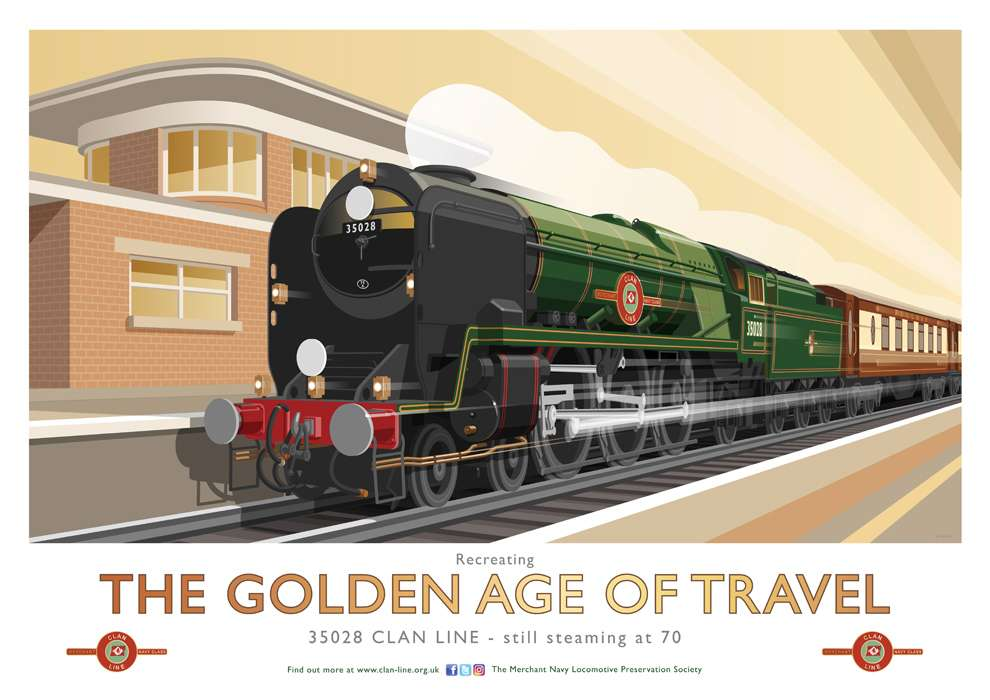 Stephen  Millership, Illustration of a train in a travel poster retro style