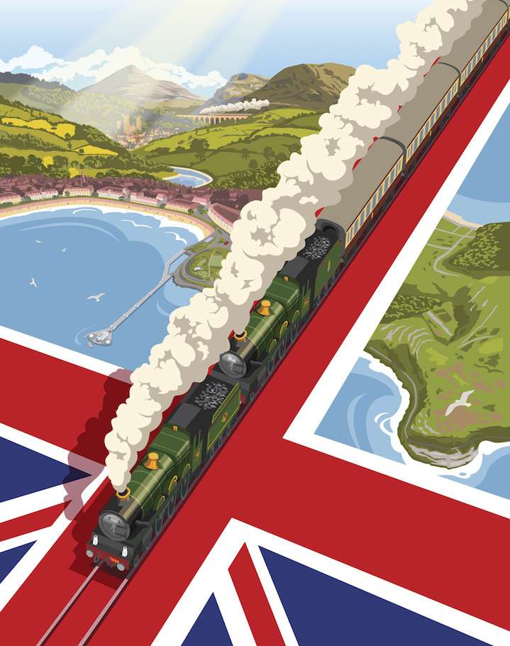 Stephen  Millership, Illustration of a train going through the union jack flag in a travel poster retro style