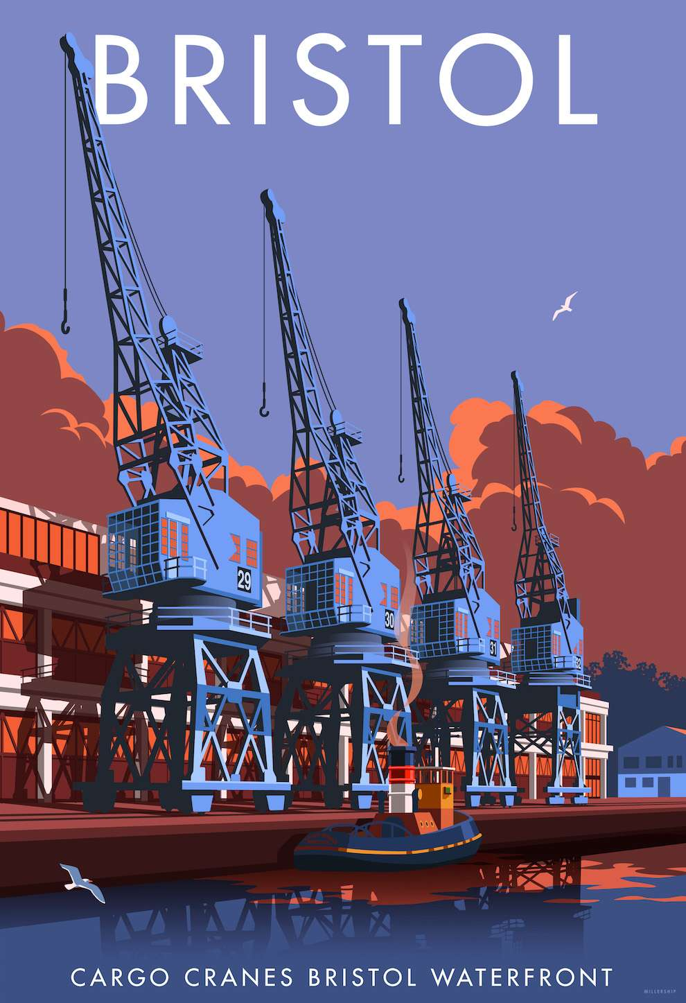 Stephen  Millership, Bristol Docks illustration travel poster
