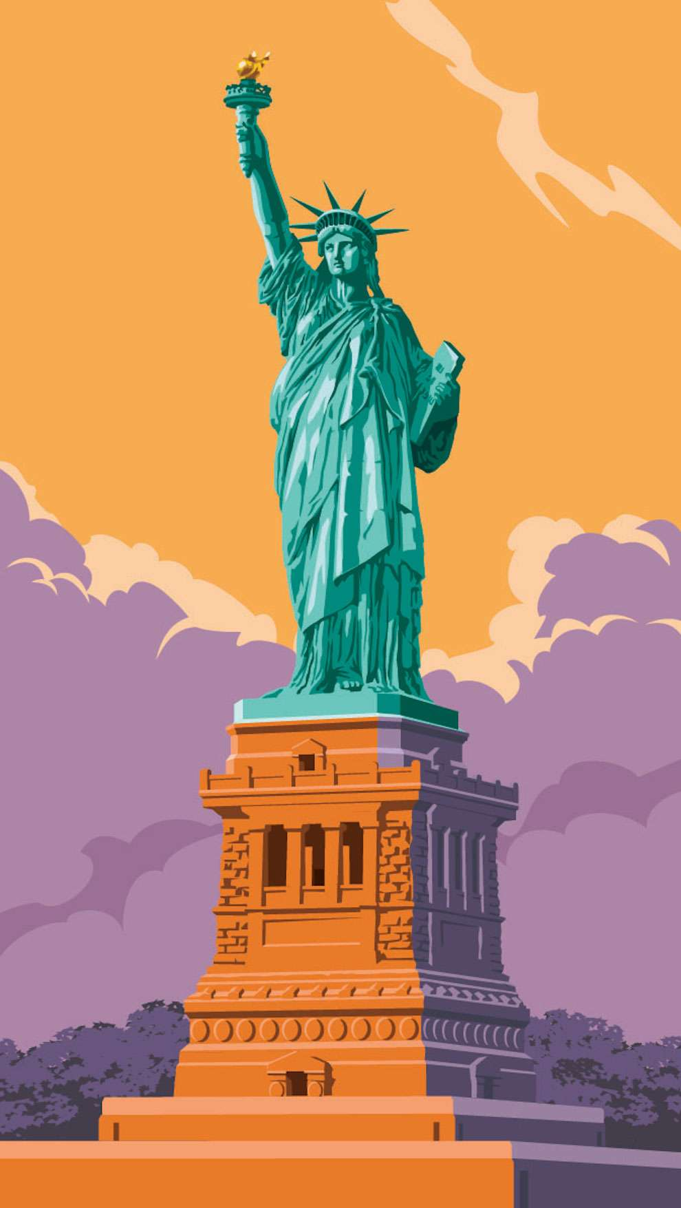Stephen  Millership, Bold and graphic illustration of the statue of liberty
