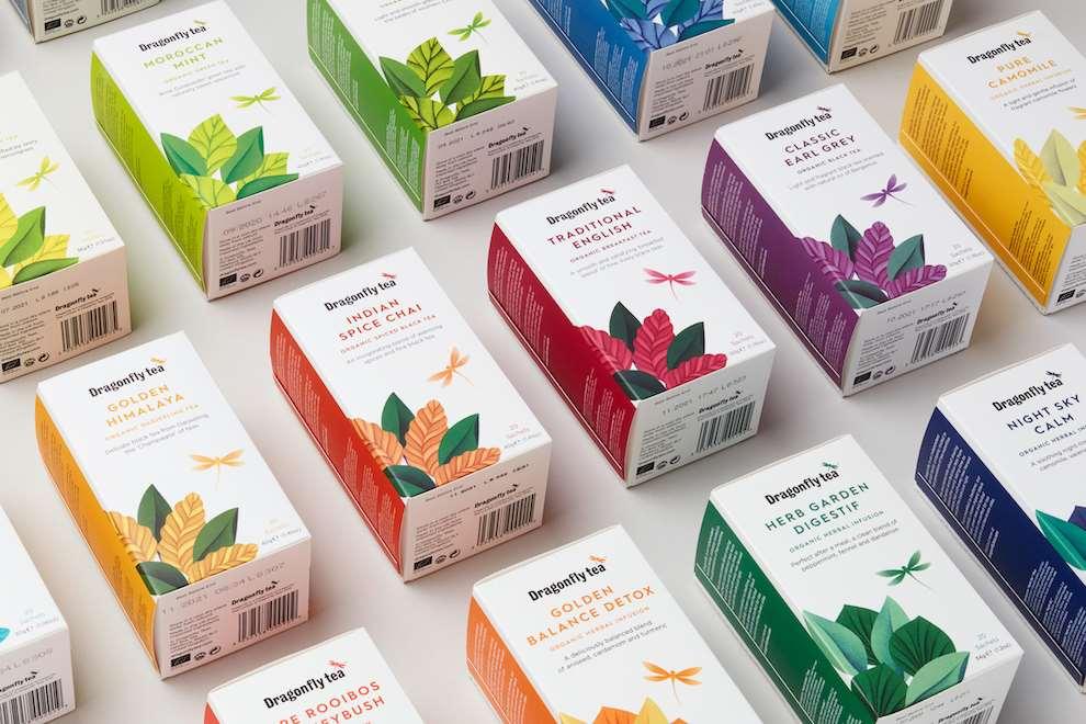 Tatiana Boyko, Tatiana Boyko Digital and textural delicate botanical illustration for DragonFly tea packaging.