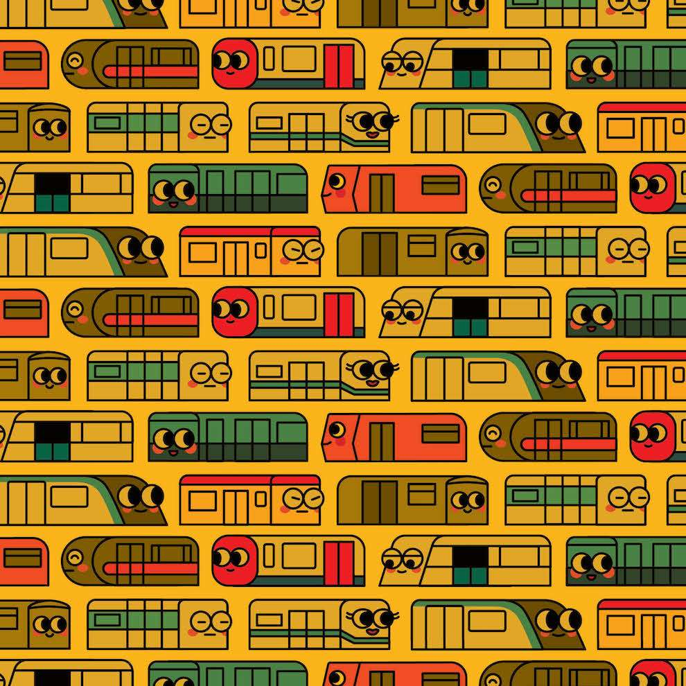 Uijung Kim, Uijung Kim cute kaiwai train with faces pattern