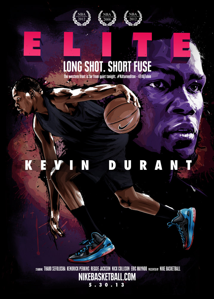 Benjamin Wachenje, Photorealism film poster with an illustration of a basketball player with spray paint background.