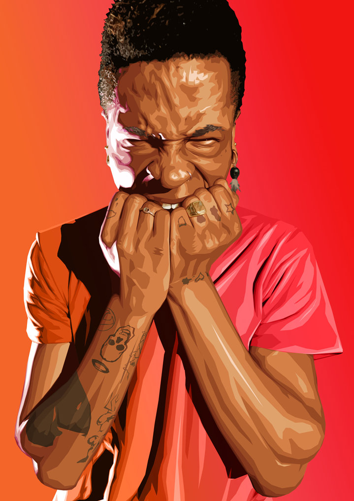 Benjamin Wachenje, photorealistic portrait illustration of a young person with tattoos using photo manipulation and a red gradient background.