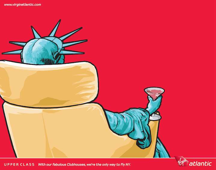 Benjamin Wachenje, Digital illustration for Atlantic Advertising with Statu of Liberty drinking in business class plane