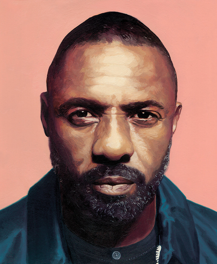 David De Las Heras, Handpainted portrait of Idris Elba