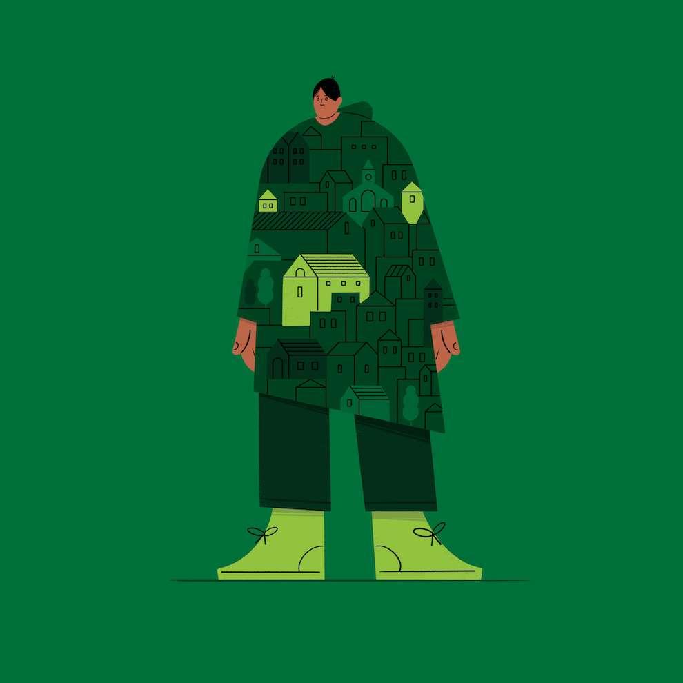 Edward McGowan, Digital illustration of a man on green background