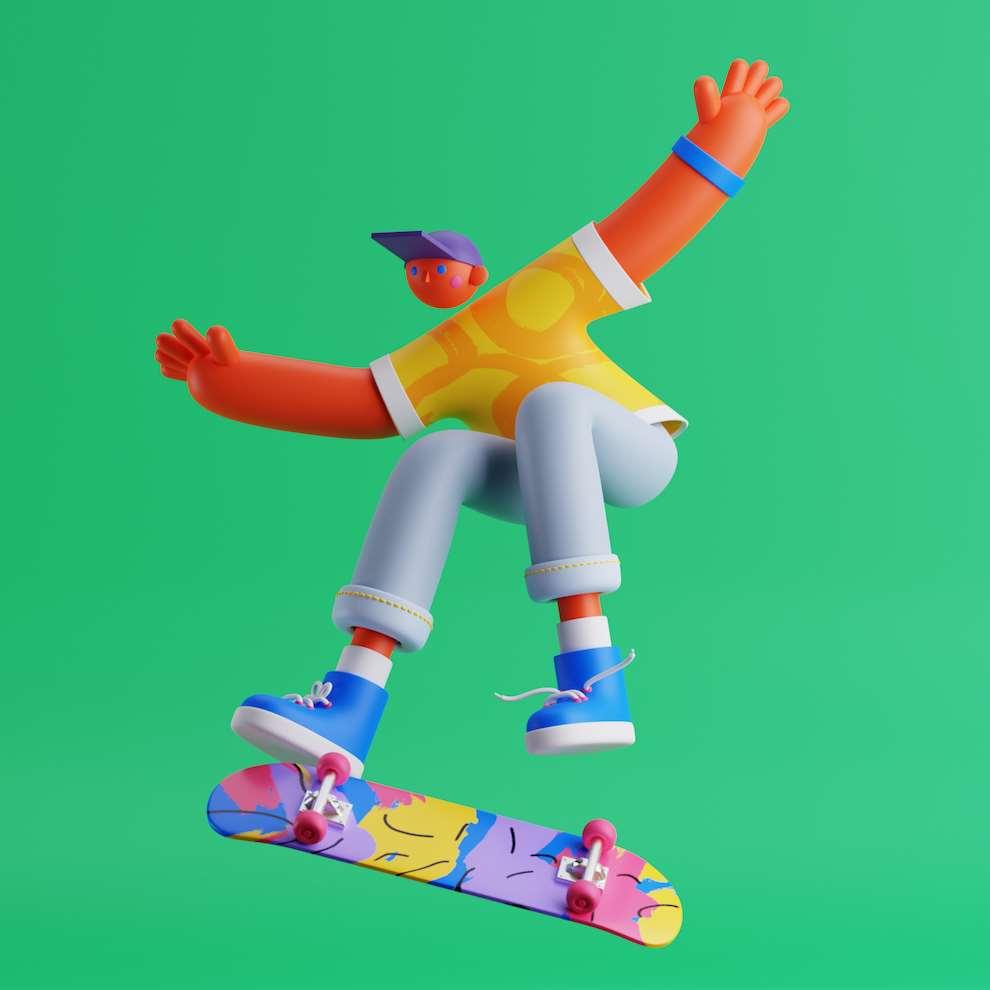 Edward McGowan, CGI character rendering of a boy doing skateboard