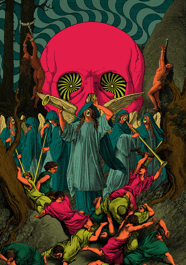 Elzo Durt, Elzo Durt Psychedelic and surreal, Renaissance inspired illustration with a red skull and characters in blue cloaks.
