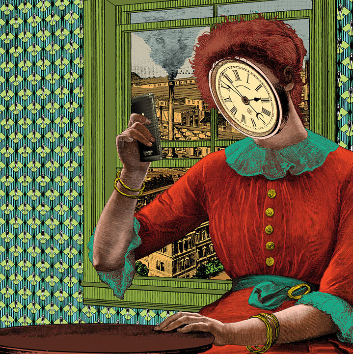 Elzo Durt, Elzo Durt Psychedelic and Surreal Illustration of a woman looking at a phone with her face covered by a clock.